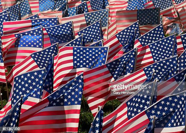 Thousands of US flags decorate the front lawn of the Fort Lee High School in advance of election day and Veterans Day next week on November 6, 2016...