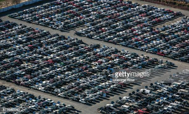 Thousands of vehicles at the 'Pick n Pull' automobile dismantling yard are viewed in this aerial photo taken on November 5 in Windsor California With...
