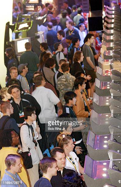 Thousands of video game enthusiasts and game designers fill the walkways in the Xbox booth during the opening day of the Electronic Entertainment...