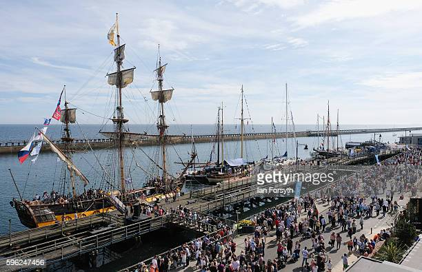 Thousands of visitors attend the second day of the North Sea Tall Ships Regatta on August 27 2016 in Blyth England The bustling port town in South...
