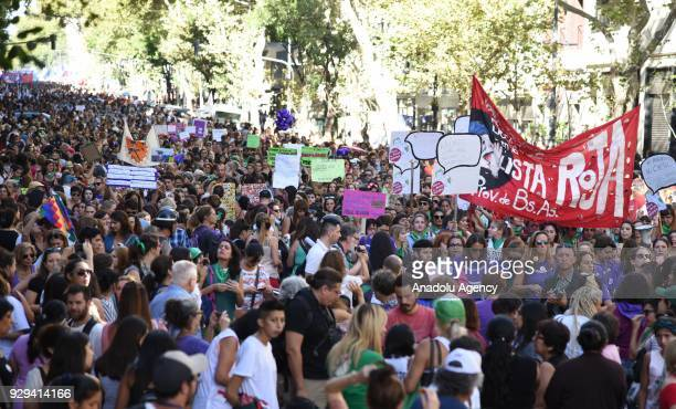 Thousands of women attend a march started from the Plaza de Mayo to the congress of the nation of Argentina to commemorate the International Day of...