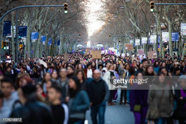 Thousands of women in the feminist protest during a demonstration marking International Women's Day in Barcelona Spain on March 8 2019