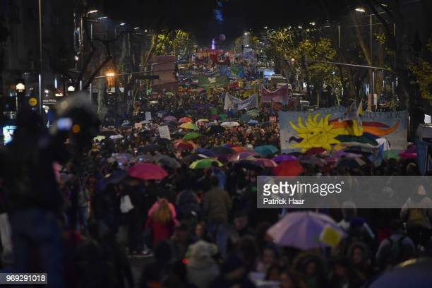 Thousands of women march to National Congress of Argentina during a protest as part of the 'Not One Less' movement demanding legal abortion on June...