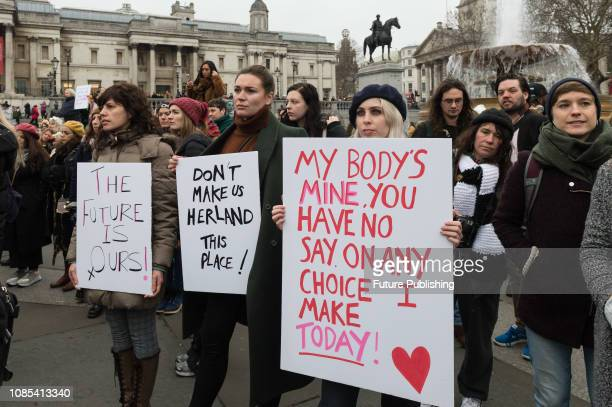 Thousands of women participate in 'Women's March for Bread and Roses' rally in Trafalgar Square, which is a part of global protest taking place in 30...