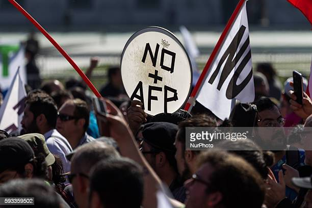 Thousands of Workers and their families march to protest against the Pension Fund Administrator in Santiago on August 21 2016 Demonstrations and...