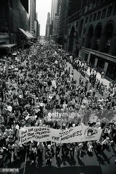 Thousands of World Peace marchers move en mass along 42nd Street en route to Central Park where some 500000 antinuclear demonstrators were to gather