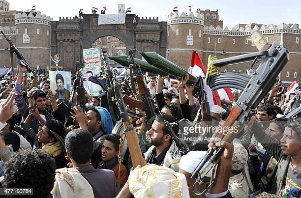Thousands of Yemeni Ensarullah Movement Houthi supporters gather at Babul Yemen to protest the Saudiled coalition air strikes in the country on June...