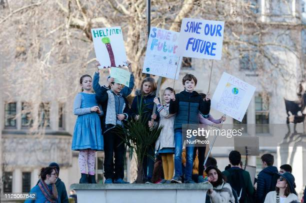 Thousands of young people gather in Parliament Square in central London to protest against the governments lack of action on the climate change and...
