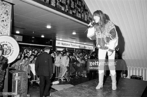 Thousands of young pop fans gather at the Bull Ring Shopping Centre for pop singer Tiffany Birmingham West Midlands 19th January 1988