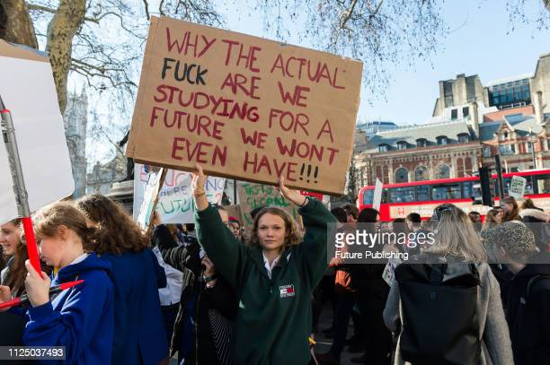 Thousands of youth strikers gather in Parliament Square in central London to protest against the governments lack of action on the climate change and...