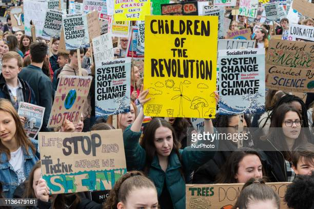 Thousands of youth strikers gather in Parliament Square to protest against the governments lack of action on the climate change and destruction of...