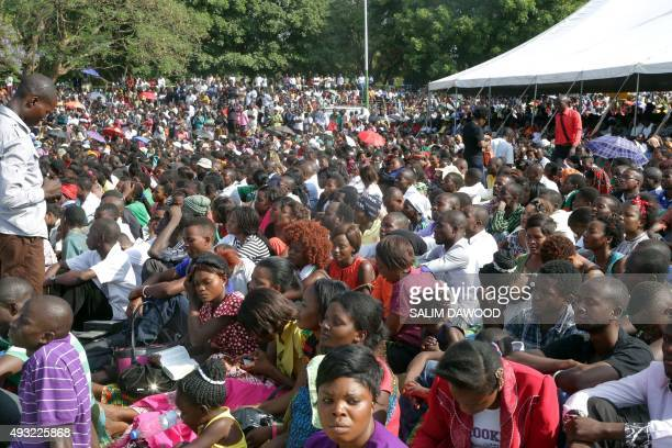 Thousands of Zambians rally to pray against the depreciation of the countrys currency and economic crisis at the Show grounds in the capital city...