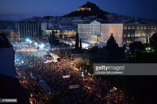 Thousands on 'NO' protesters gather in front of the parliament building in Athens on July 3 2015 Greek Prime Minister Alexis Tsipras was cheered...