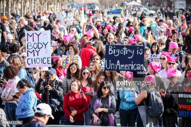 Thousands pack Civic Center Plaza to hear speakers kick off the Women's March San Francisco on January 19 2019 in San Francisco California