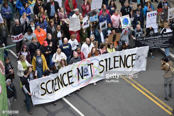 Thousands participate in the National March for Science in Philadelphia PA on Earth Day April 22 2017 Similar events are held around the nation...
