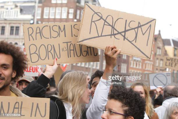 Thousands people take part during Together Against Racism demonstration on March 23 2019 in AmsterdamNetherlands The march is organised by the group...