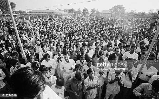 Thousands pray after listening to a speech delivered by General Abdul Khader Siddiq just before the Razakar massacre during the war for Bangladeshi...