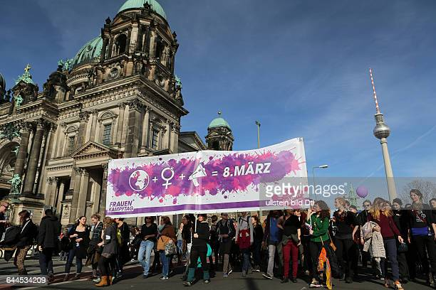 Thousands protesters at the rally for the International Women's Day on 8rd March 2015 in Berlin to defend Women's rights