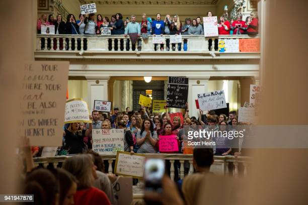 Thousands rallied at the Oklahoma state Capitol building during the third day of a statewide education walkout on April 4 2018 in Oklahoma City...