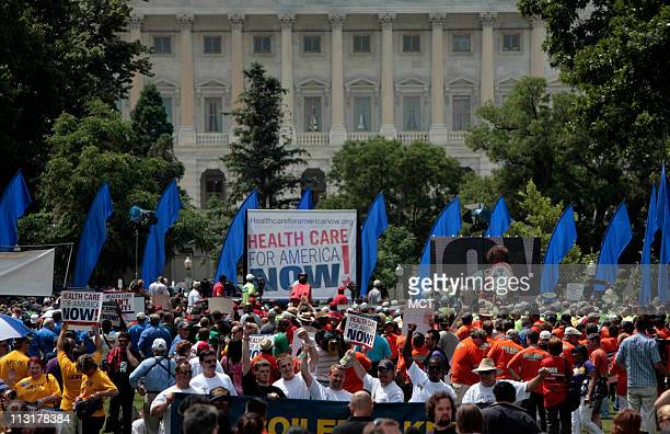 Thousands rallied outside the Capitol to show their support for revamping the nation's health care system June 25 in Washington DC