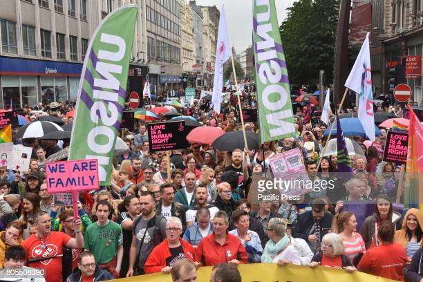 Thousands take part in a protest march and rally in Belfast calling for the legalization of samesex marriage Northern Ireland is the only part of the...