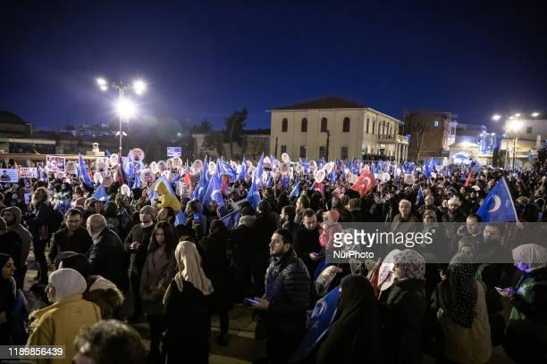 Thousands take part in a 'silent scream' demonstration against China's persecution of Uighurs in Xinjiang at Fatih Mosque on December 20 2019 in...