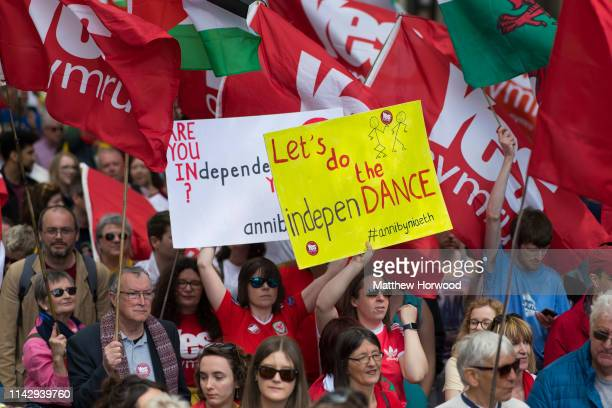 Thousands take part in the first ever march for Welsh independence from City Hall to the Hayes on May 11 2019 in Cardiff Wales Organisers of the...