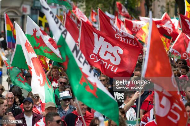 Thousands take part in the first ever march for Welsh independence from City Hall to the Hayes on May 11, 2019 in Cardiff, Wales. Organisers of the...