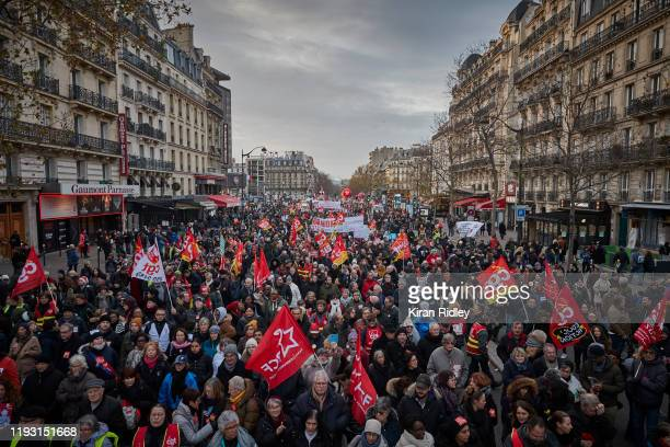 Thousands take to the streets near Montparnasse to protest against pension reform on the sixth day of national strikes in France on December 10 2019...