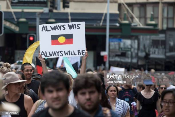 Thousands take to the streets to protest Australia Day on January 26, 2018 in Sydney, Australia. Australia Day, formerly known as Foundation Day, is...