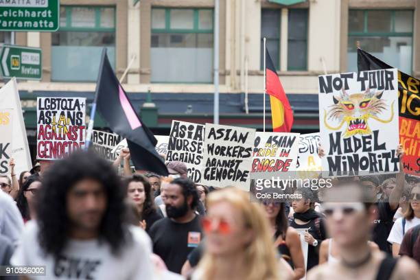 Thousands take to the streets to protest Australia Day on January 26 2018 in Sydney Australia Australia Day formerly known as Foundation Day is the...
