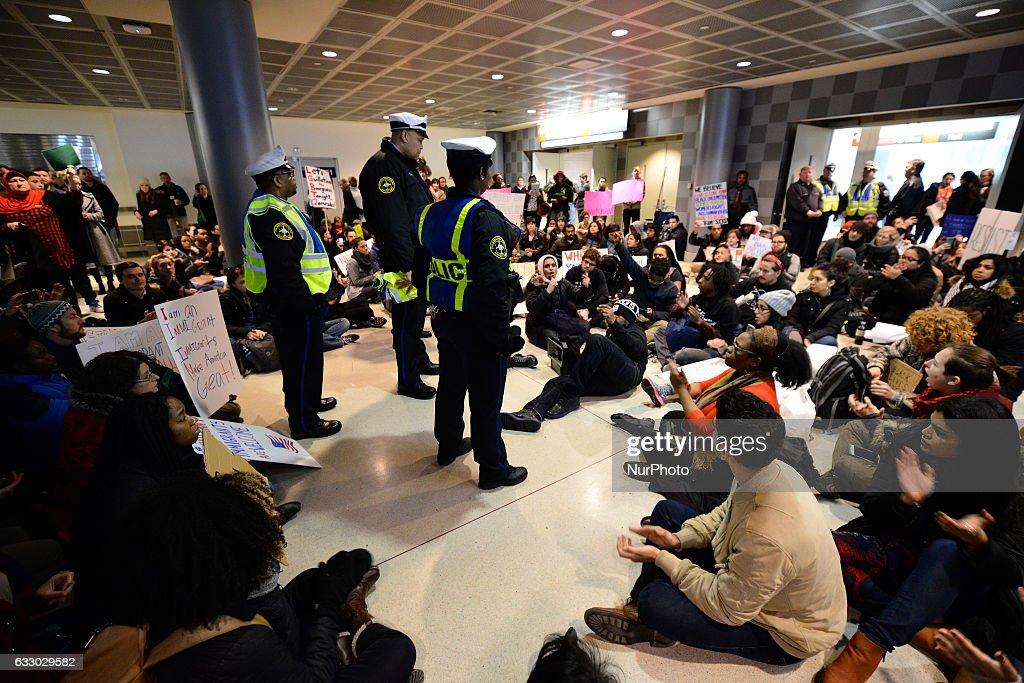 Thousands turn out for a January 29th, 2017 Immigration Ban Protest at Philadelphia International Airport, in Philadelphia Pennsylvania.