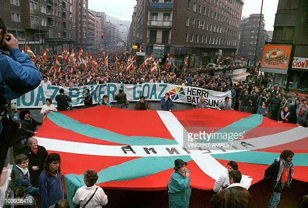 Thousends of people demonstrate with Herri Batasuna considered the political wing of the Basque separatist paramilitary organization ETA to support a...