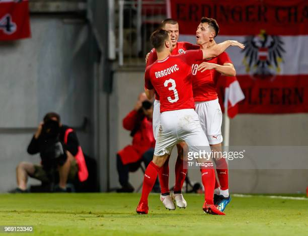 thr players of Austria celebrates after scoring the 21 during the international friendly match between Austria and Germany at Woerthersee Stadion on...