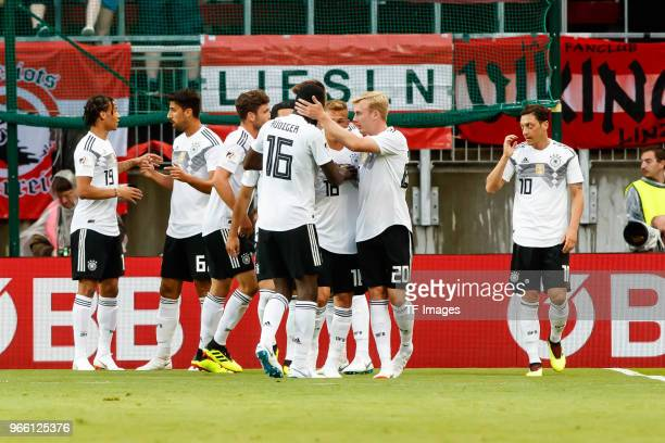 thr players of Germany celebrates after scoring during the international friendly match between Austria and Germany at Woerthersee Stadion on June 2...