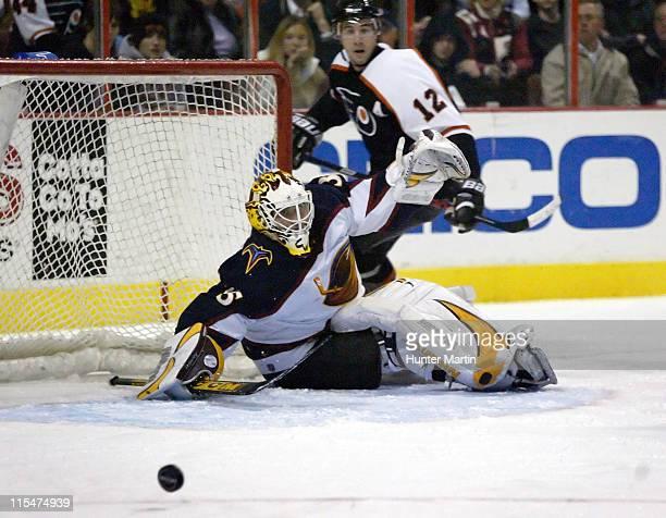 Thrasher goalie Michael Garnett makes a save during a game vs the Flyers. Atlanta Thrashers at Philadelphia Flyers, Wachovia Center, Philadelphia,...