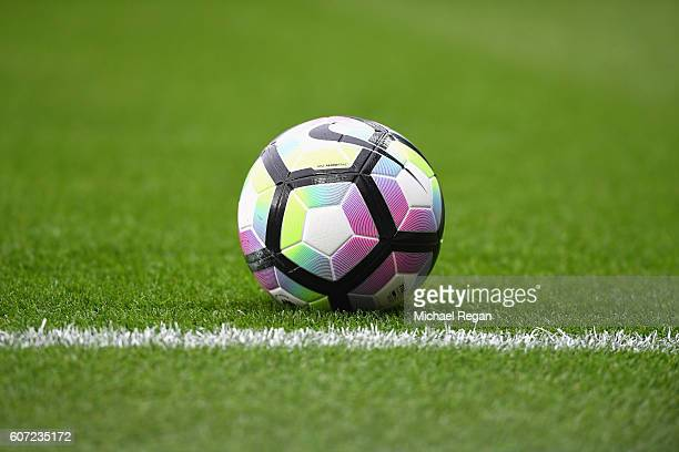 Thre preimer leauge ball on the ptich before kick off during the Premier League match between Leicester City and Burnley at The King Power Stadium on...