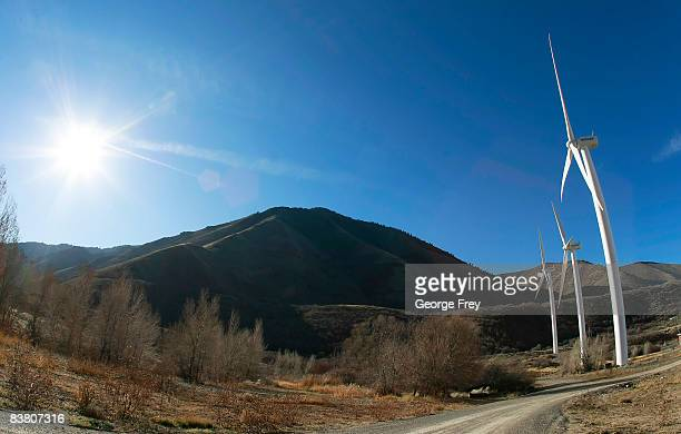 Three, 2.1 mega watt wind powered turbines owned by Edison Mission Energy, sit a the mouth of Spanish Fork Canyon November 24, 2008 in Spanish Fork,...