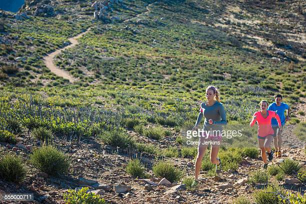 three adult trail running friends on pacific crest trail dirt track, pine valley, california, usa - pacific crest trail stock pictures, royalty-free photos & images