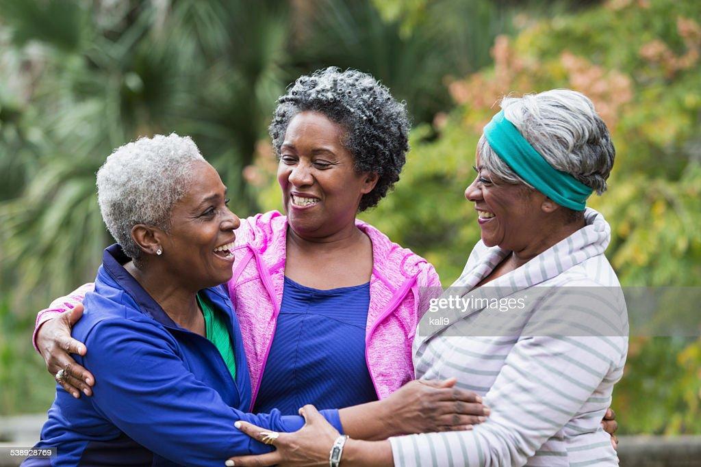 Three African American senior women talking : Stock Photo