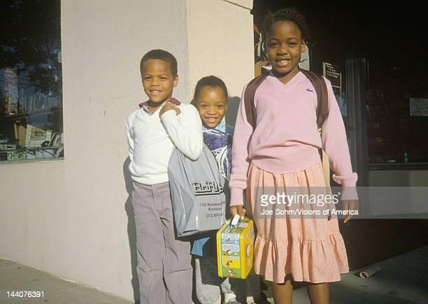 Three AfricanAmerican elementary schoolchildren Beverly Hills CA