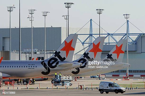 Three Airbus A320's of the Australian lowcost airline Jetstar Airways are prepared to be delivered at Airbus' production plant in Toulouse on...