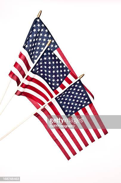 Three American Flags on Flag Poles  Isolated on White