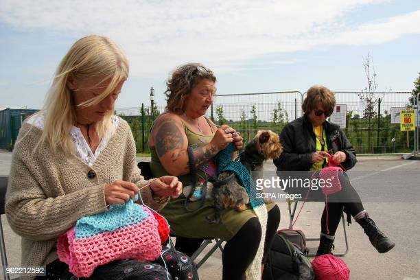 Three Anti Frack Protestors Affectionately known as Nanas knit at the gates of the Fracking company Cuadrilla's Frack site during a quiet day of...