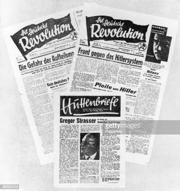 Three antiHitler newspapers published by exiled German dissident former member of the Nazi Party Otto Strasser circa 1937 The official organs of...