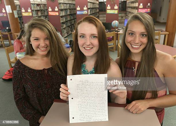 Three Apponequet Regional High School students, Mollykate Rodenbush, Brittany Tainsh, and Michaela Arguin , received a handwritten reply from Whitey...
