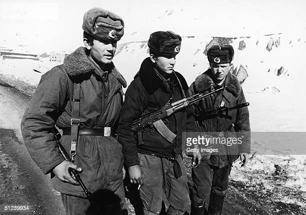 1979 Three armed Soviet Army soldiers serving in the Afghan Civil War
