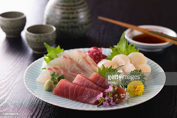 Three Assorted Sashimi, Lean Tuna, Sea Bream and Scallop