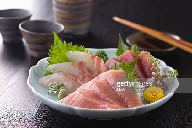 Three Assorted Sashimi, Medium Fatty Tuna, Lean Tuna and Sea Bream