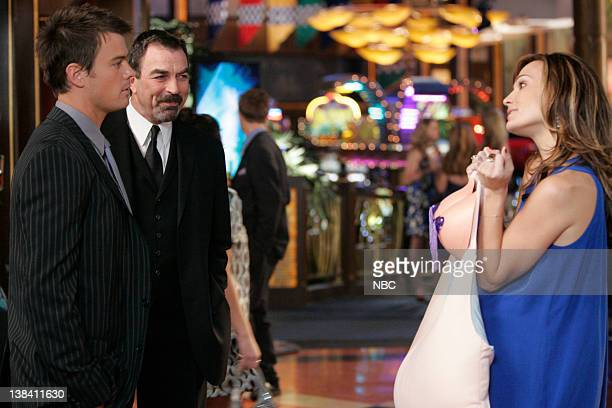 LAS VEGAS Three Babes 100 Guns And a Fat Chick Episode 13 Pictured Josh Duhamel as Danny McCoy Tom Selleck as AJ Cooper Molly Sims as Delinda Deline